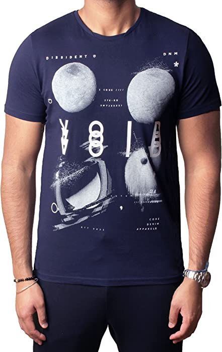 2a2f46d1 Men's graphic print t-shirt short sleeve cotton top Dissident Darkness  1C-9054, Dark Sapphire S | Amazon.com