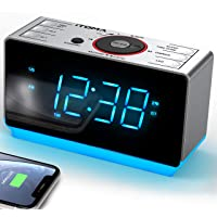 Alarm Clock Radio with Bluetooth, FM Radio Dual Clock, Auto Brightness Sleep Timer, USB Charging, Dimmer LED Night Light…