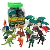 BOLEY (40 Piece) Big Bucket of Dinosaur Toys - Tub of Educational Dinosaur Toy Playset with T-rex, Velociraptor and more - Small Bucket Allows For Easy Clean-up of Your Child's Pretend Play Toys!