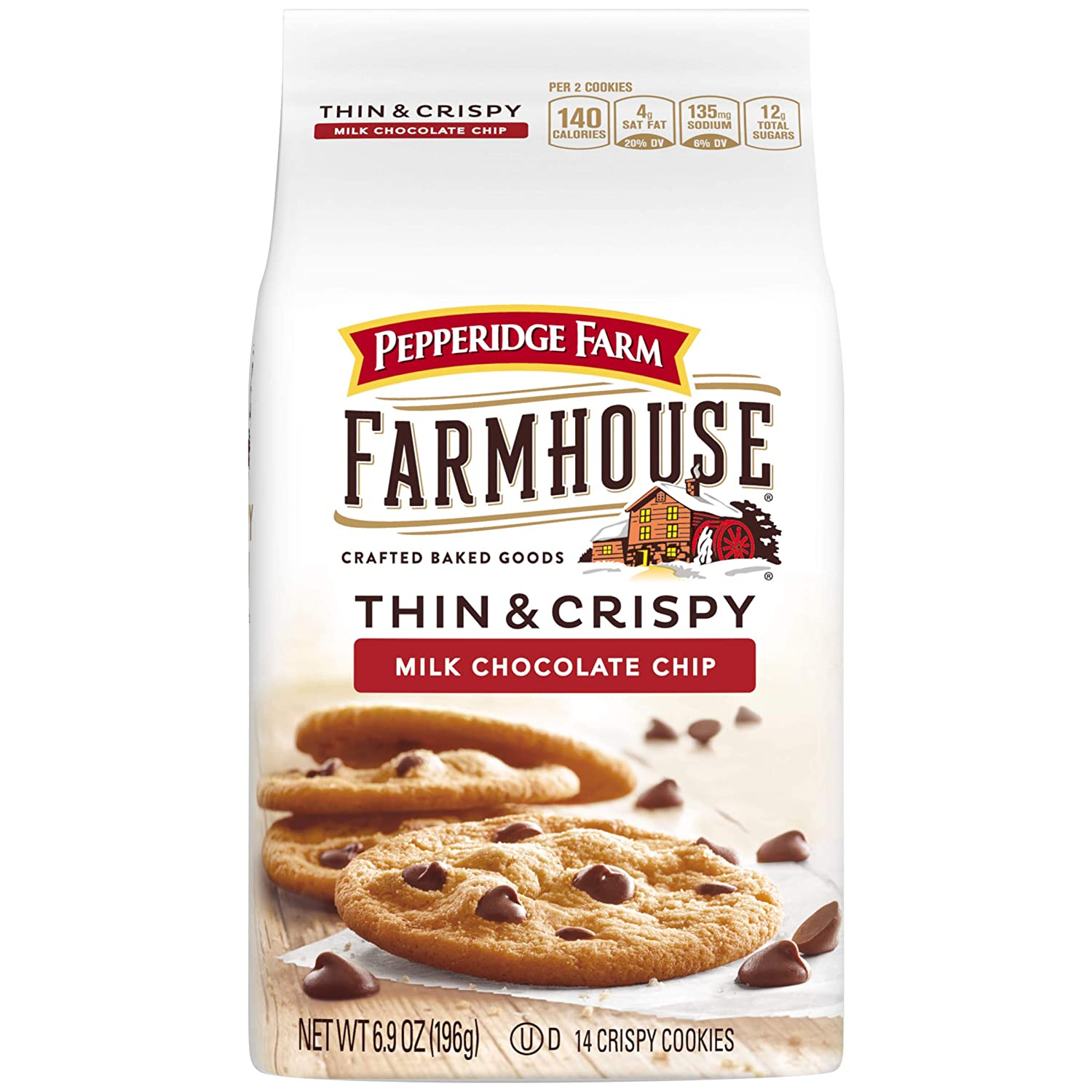 Pepperidge Farm Farmhouse Thin Crispy Milk Chocolate Chip Cookies 6 9 Oz Bag Amazon Com Grocery Gourmet Food