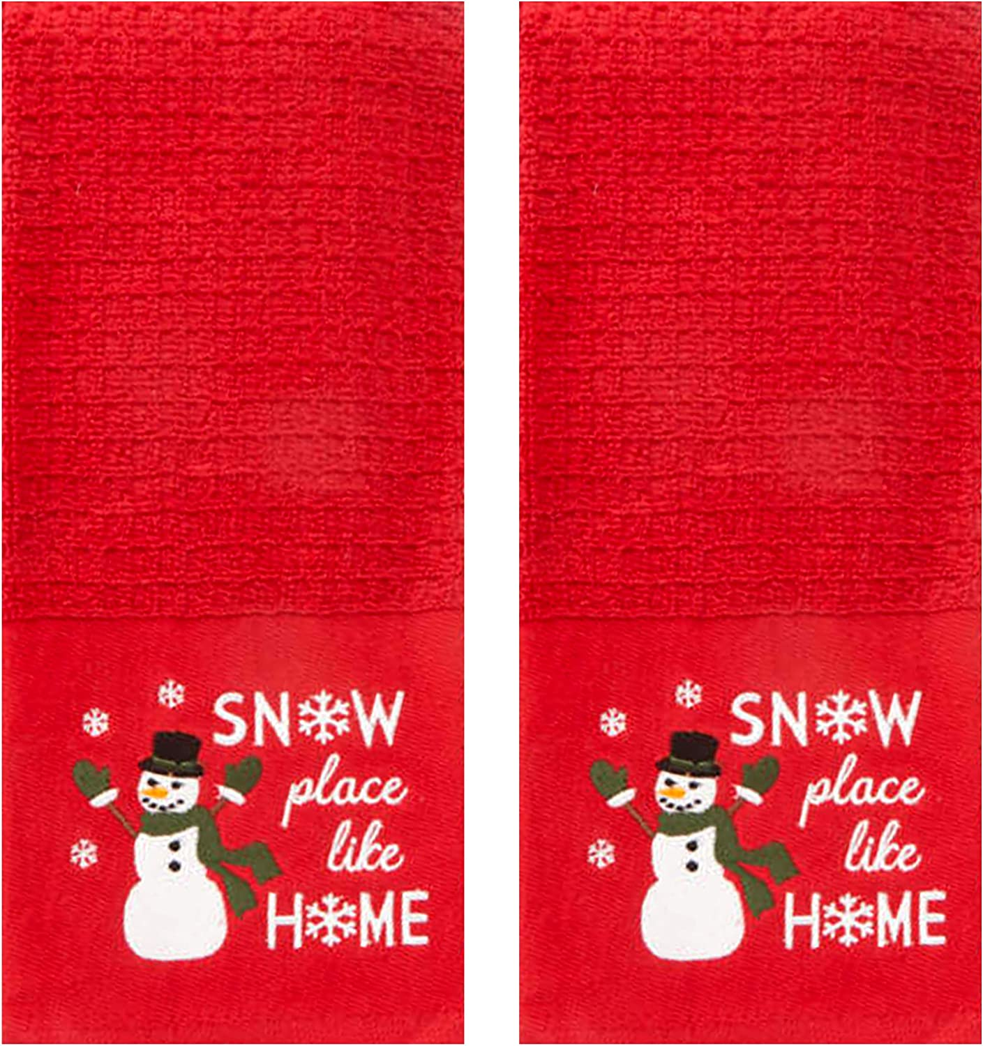 Winter Wonder Lane Kitchen Towel Set of 2, Snowman Snow Place Like Home, Holiday Cottage Collection, Embroidered Winter Design on Soft Cotton Waffle Style Towels, 16 x 26 Inches