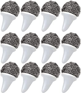 Steel Wool Scrubber with Handle, Stainless Steel Scrub Set Food Grade Scouring Pad Scrubbers Brush for Kitchen, Bathroom, Restaurants, Office, Wood Furniture and Boat(12PCS, Grey)