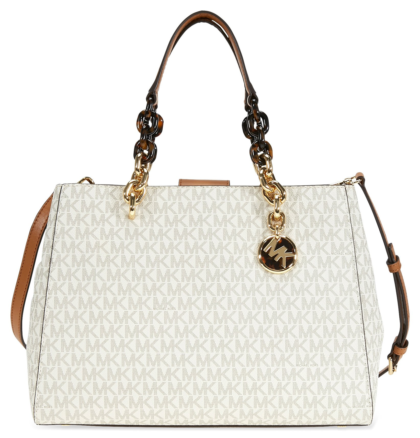 Michael Kors Cynthia Medium Logo Satchel- Vanilla by Michael Kors