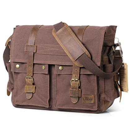143ef387e20 Image Unavailable. Image not available for. Color  Lifewit 17.3 inch Mens  Messenger Bag Vintage Canvas Leather ...