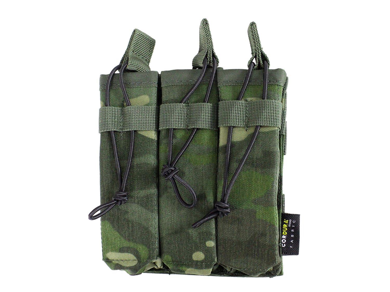 BE-X Offene Magazintasche für CQB, für MOLLE, für drei MP5 Magazine - multicam tropic für MOLLE
