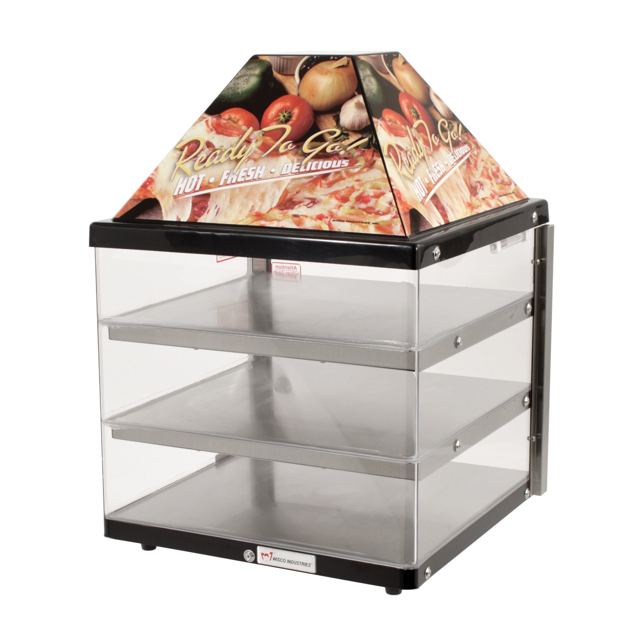 Wisco, Model 680-3-BLK, Food Warming and Merchandising Cabinet, 3 Shelf, Black