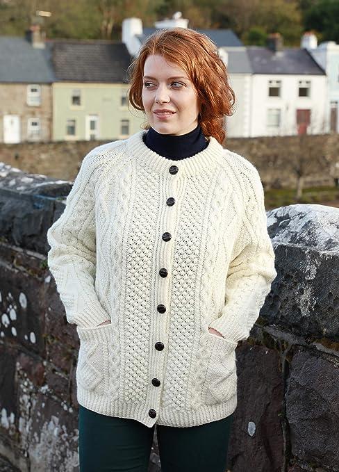 Hand Knit Ladies irlandesa Aran Cardigan: Amazon.es: Ropa y accesorios