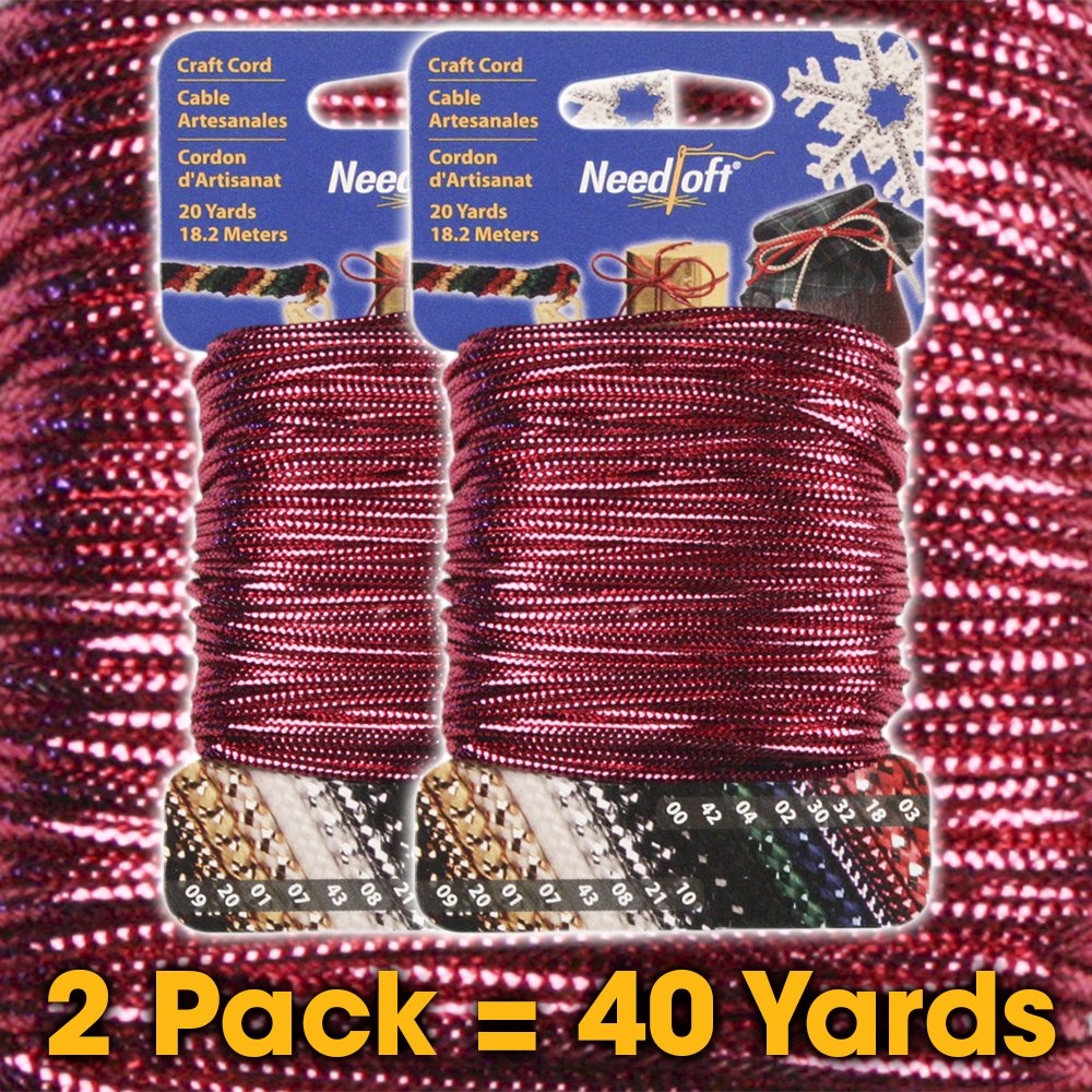 #01 Metallic Gold - Needloft Craft Cord 2 Pack 40 Yards (2x20yds) Cottage Mills 4337028426