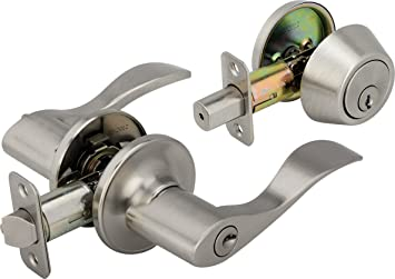 exterior door lock set. legend 809127 wave style lever front door knob entry leverset lockset and single cylinder deadbolt combination exterior lock set n