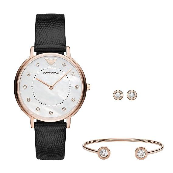 Emporio Armani Reloj Analogico para Mujer de Cuarzo con Correa en Cuero AR80011: Amazon.es: Relojes