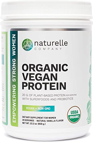 Naturelle Organic Vegan Protein – USDA Certified Organic Plant-based Protein Powder – Brown Rice, Pumpkin, Pea Hemp Protein – Energy-Boosting Superfoods, Probiotics