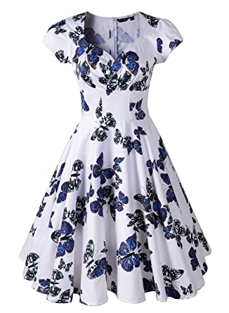 Penelope Vintage 1950s Style Floral Rose Pattern Swing Circle Party Dress (US16/UK20,