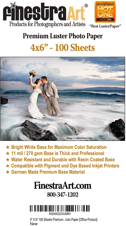 "4"" X 6"" Premium Luster Inkjet Photo Paper - 100 Sheets"