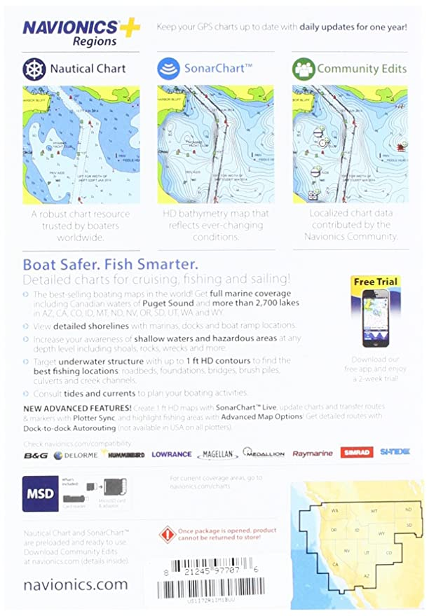 Off Charts Thousands Of Us Locales >> Amazon Com Navionics Plus Regions West Marine And Lake Charts On Sd