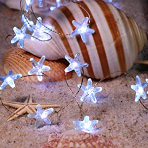 Flavcharm Ocean Decor Starfish String Lights Indoor, 40 LEDs Beach Themed Decorative Fairy Lights, USB & Battery Operated with Remote Lights of String for Summer Party Decor, Bedroom, Christmas