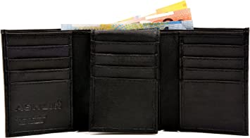 Mens Genuine Leather Tri-fold Wallet 16 card slots /& Double billfold section