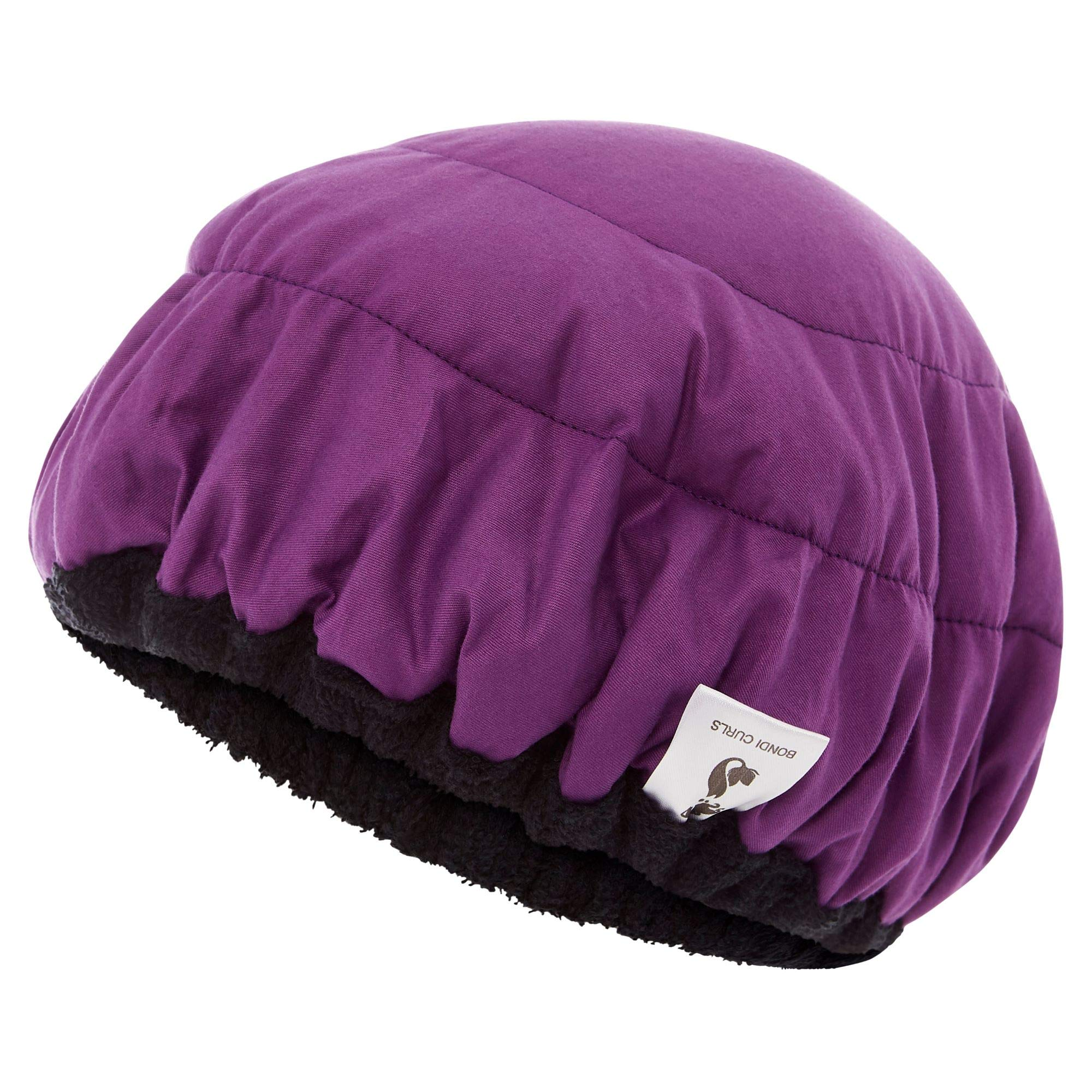 Deep Conditioning Thermal Heat Leopard Print Cap w/Disposable Shower Caps | Curly Girl Method | Steaming Haircare Therapy | Soft, Plush Cotton, Stretchy Nylon | Microwave Safe (Purple/Black)