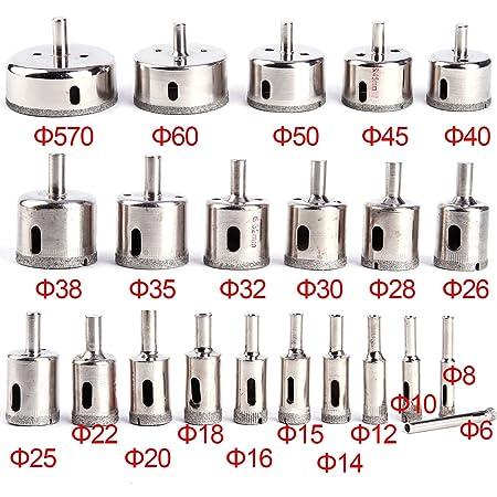 22Pcs Diamond Hole saw Set Drill Bit Cutter Tile Glass Ceramic Marble 6-70mm UK