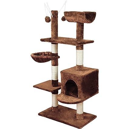KExing Árboles para Gatos Rascador para Gatos Sisal Plush con Hamaca y Bola 131cm, Marrón
