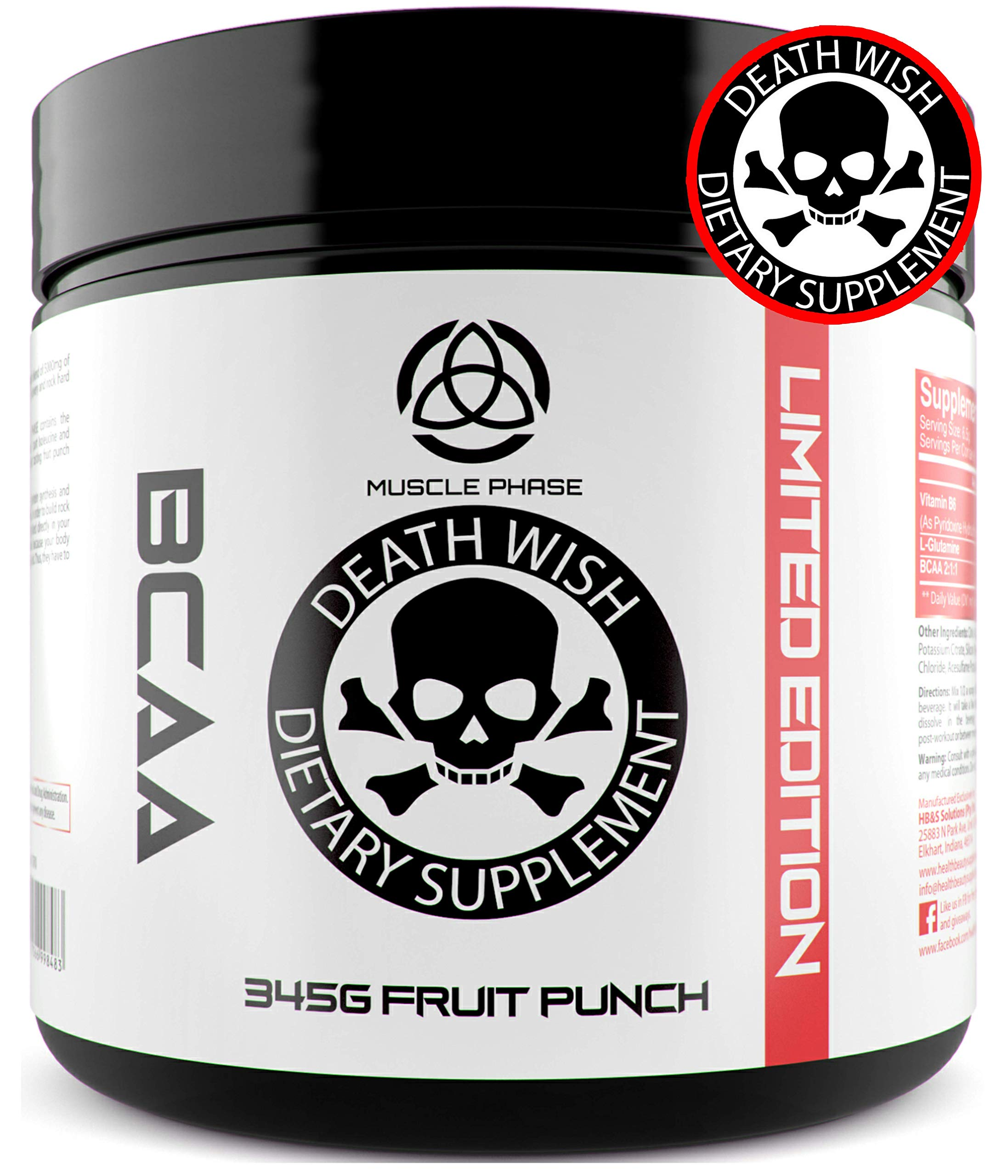 _ ANABOLIC BCAA by Death Wish Supplements | Fast Absorption Powder | 5000mg | Added Vitamin