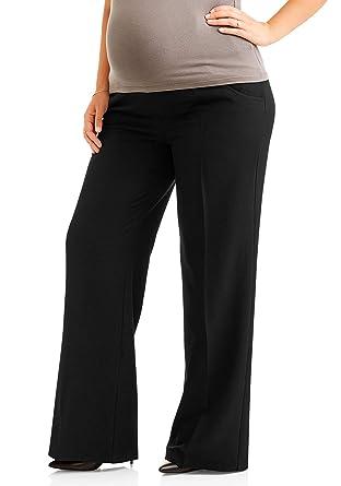 223fdb4532b0a4 Oh! Mamma Maternity Plus-Size Full-Panel Wide Leg Career Dress Pants -  Black - 2X: Amazon.co.uk: Clothing