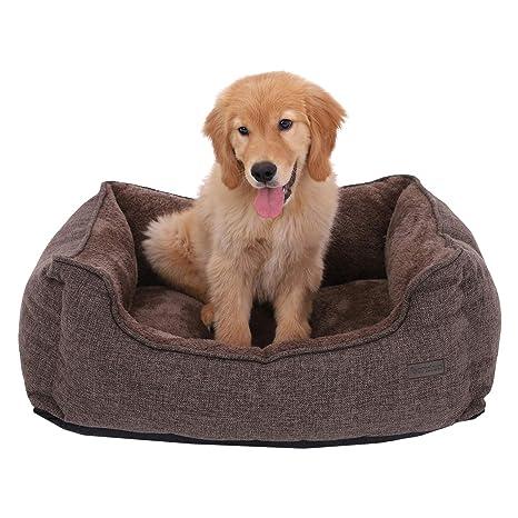 FEANDREA Cama para Perros, Sofá para Perros, Cesta para Perro, Desmontable y Lavable a máquina, Marrón, 75 x 58 x 22 cm PGW10CC