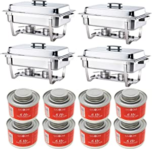 ALPHA LIVING 8 PC Fuel High Grade Stainless Steel Chafer Complete Set 4 Pack 8QT Chafing Dish &