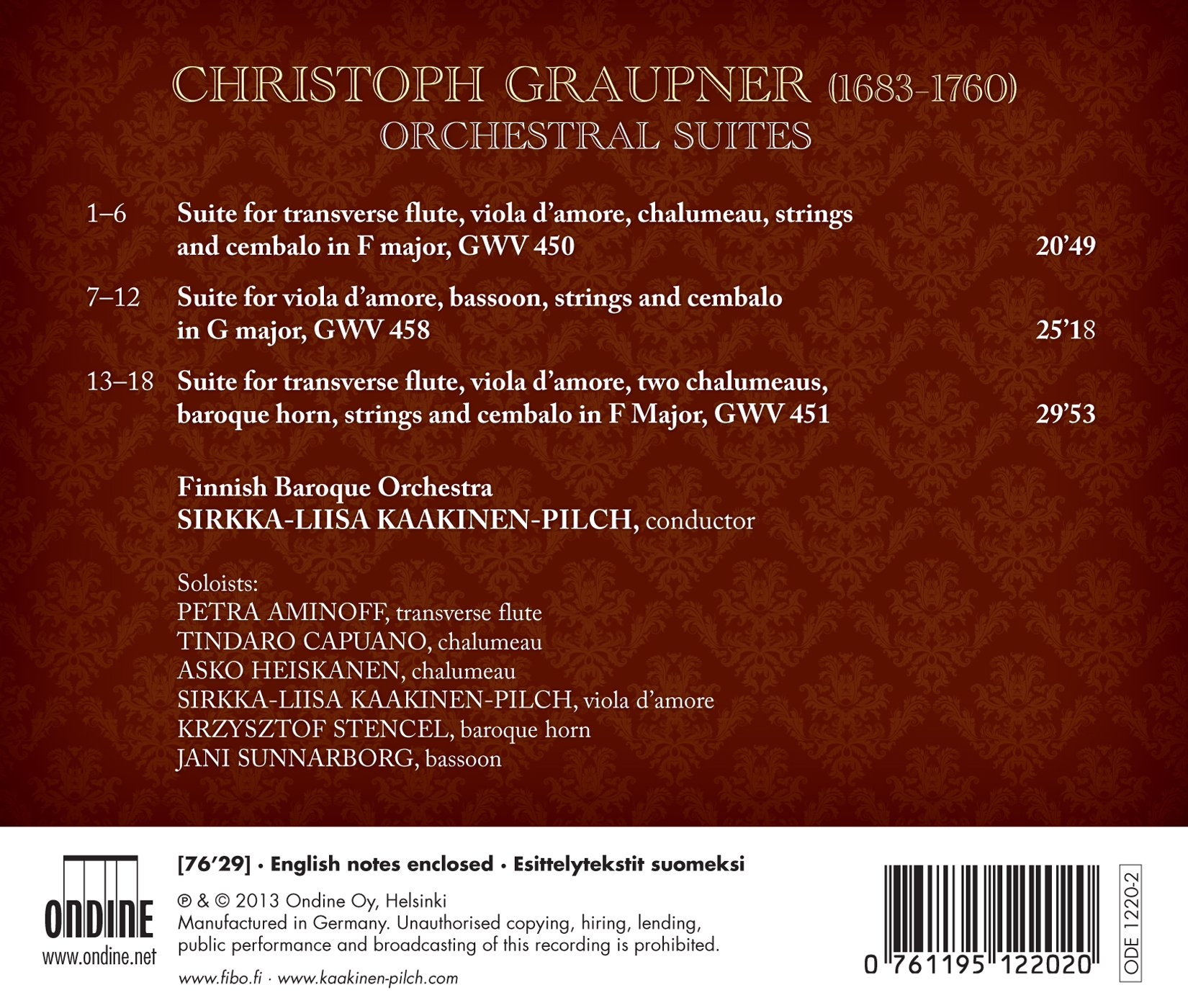 Graupner: Orchestral Suites by Ondine