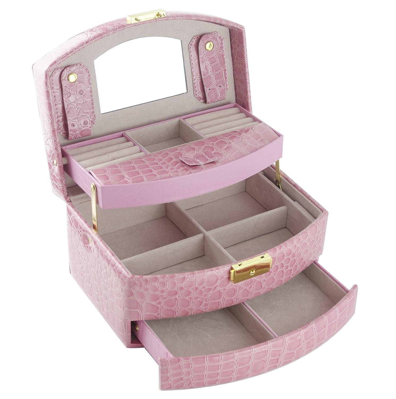 Feibrand Vintage Coffret Boîte à Bijoux Présentoirs Beauty Case avec Miroir