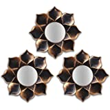 Art Street Lotus Petal Decorative Wall Mirror (Set of 3)(Size - 9 x 9 inch)