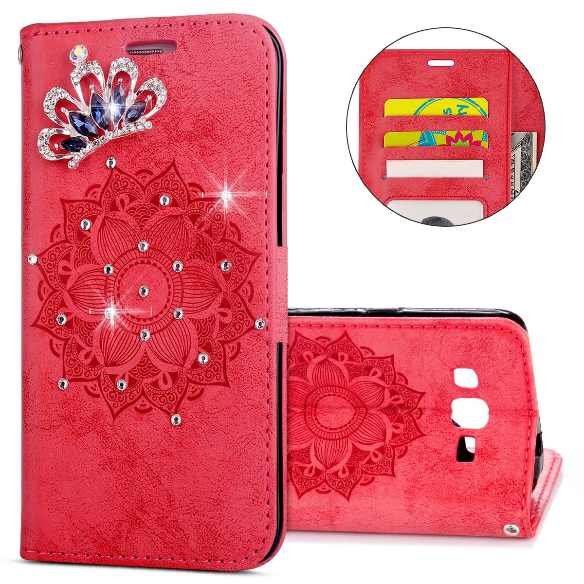 IKASEFU Galaxy G360 Case,3D Clear Crown Rhinestone Diamond Bling Glitter Wallet with Card Holder Emboss Mandala Floral Pu Leather Magnetic Flip Case Protective Cover for Samsung Galaxy G360,Red