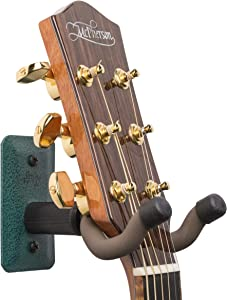 String Swing Guitar Hanger - Holder for Electric Acoustic and Bass Guitars - Stand Accessories Home or Studio Wall - Musical Instruments Safe without Hard Cases – Emerald Heavy Duty Steel GCC11K