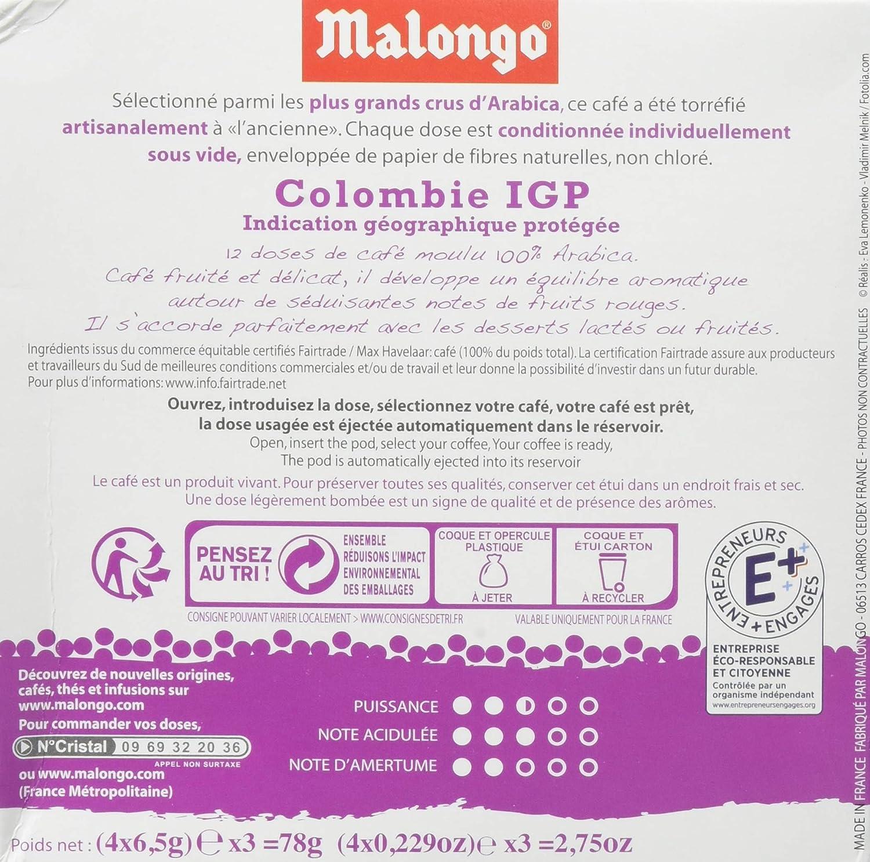 Malongo - Colombia Supremo - Café Arábica en Monodosis al Vacio - 12 Monodosis - 78 g: Amazon.es: Alimentación y bebidas
