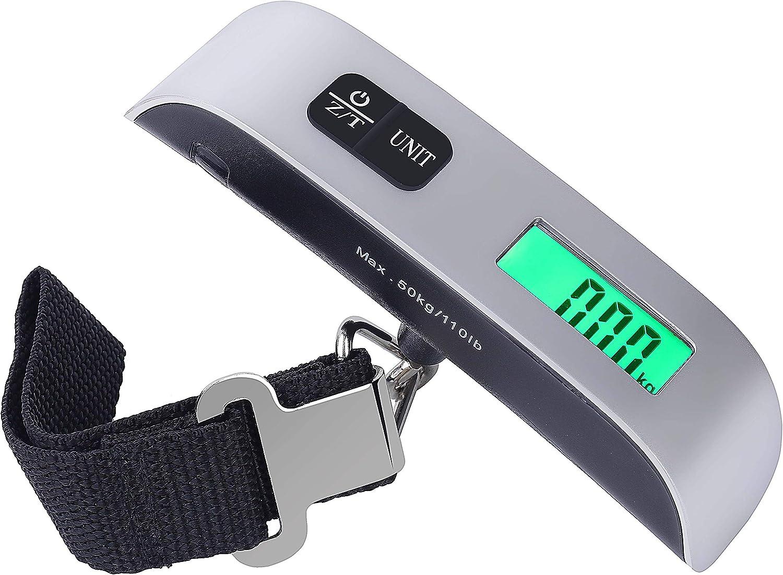 Portátiles Escala de Equipaje Básculas Electrónicas de Maleta Peso Ligero para Viajar de Hasta 110 lb/50KG con Función de Tara Plata