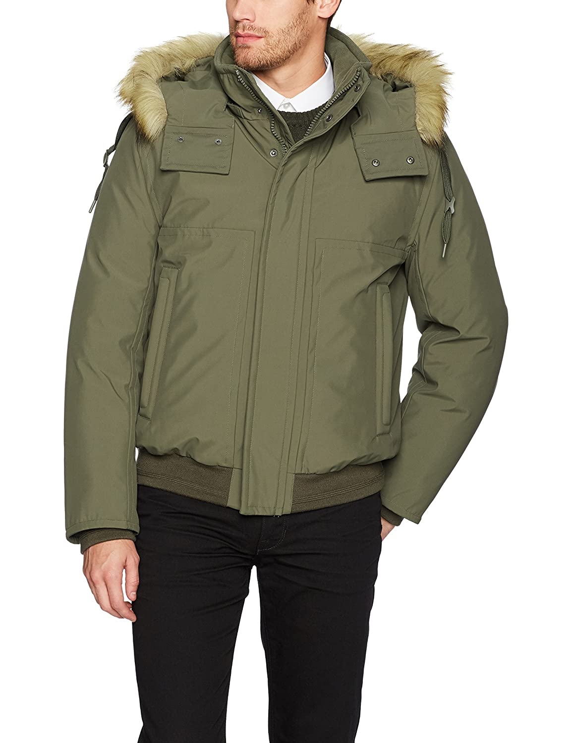 Marc New York by Andrew Marc Mens Boerum Insulated Bomber Jacket Removable Fur Hood MM7AD295