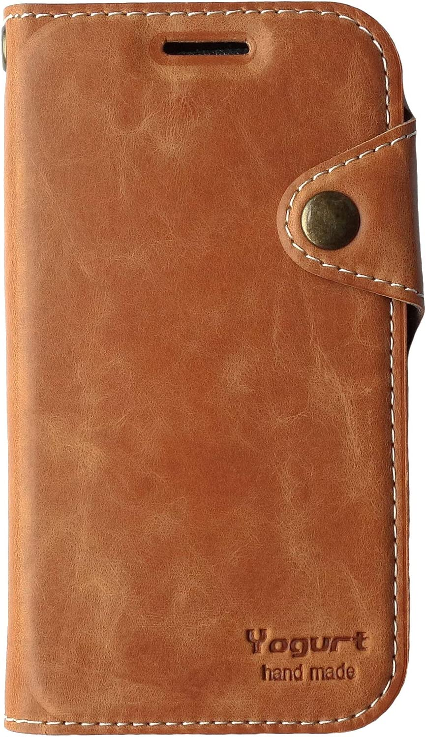 Yogurt for iPhone Xs (5.8 Inch) Case, for iPhone X Case, Handmade Genuine Leather Wallet Cover Tan