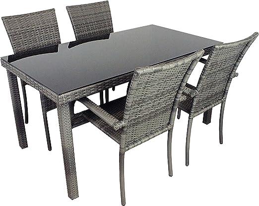 AVANTI TRENDSTORE Arezzo Set da giardino in ecorattan grigio, 4 sedie e 1 tavolo con vetro nero, dimensioni LAP: tavolo 150x75x80 cm, sedia: LAP