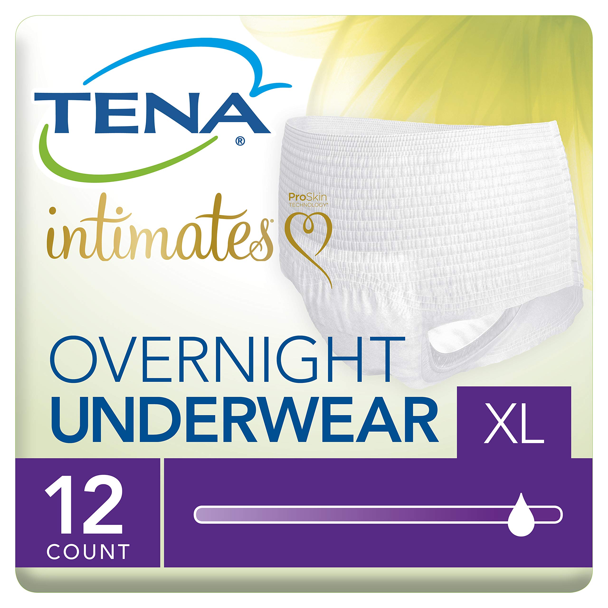 Tena Incontinence Underwear for Women, for Overnight, XLarge, 12 Count(pack of 4)