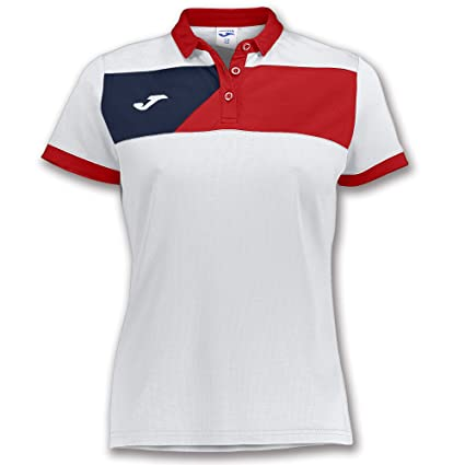 Joma Polo Crew II M/C Blanco-Rojo Mujer - Polo Deportivo, Mujer ...