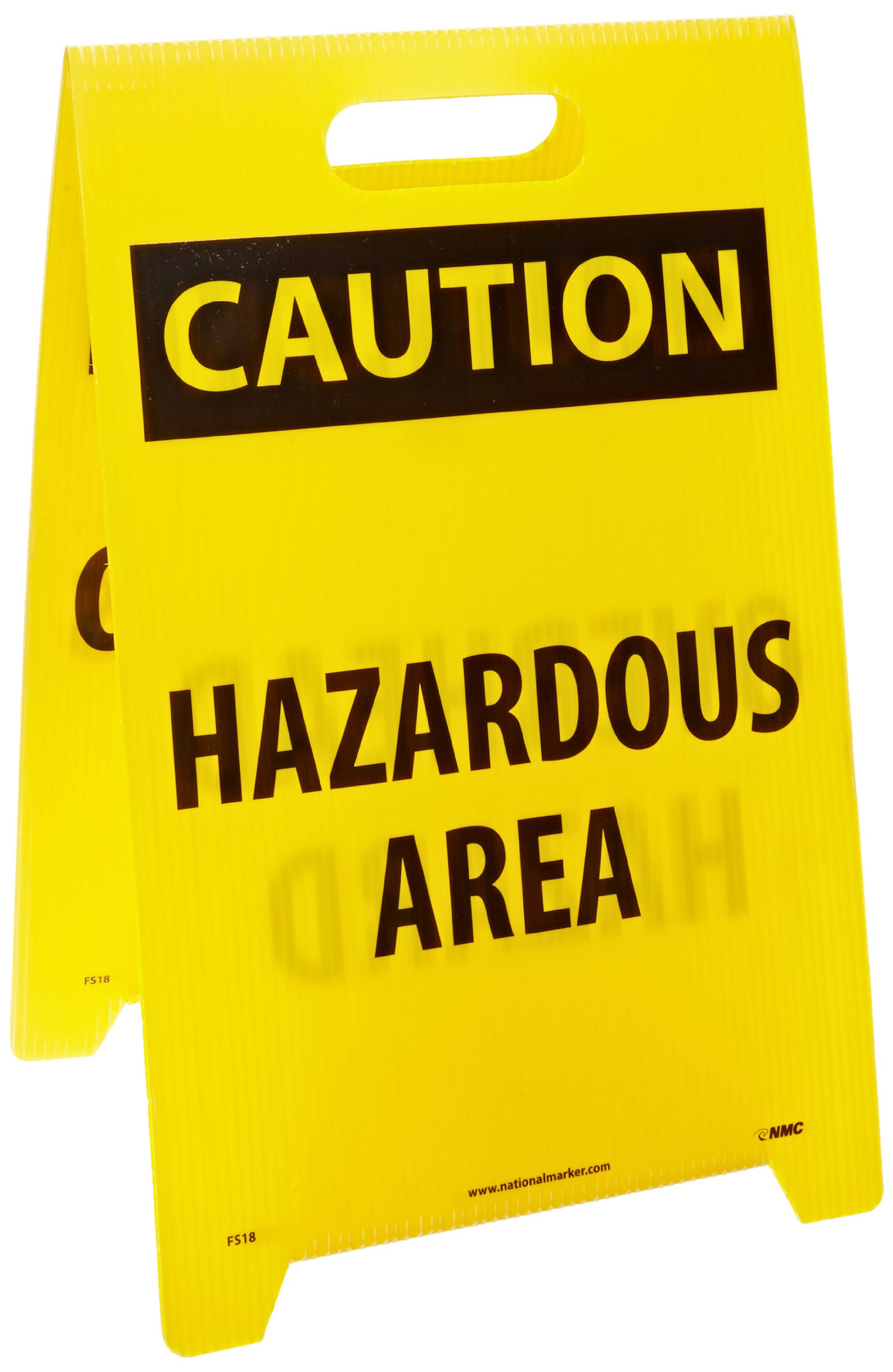 NMC FS18 Double Sided Floor Sign, Legend ''CAUTION - OVERHEAD HAZARD HAZARDOUS AREA'', 12'' Length x 20'' Height, Coroplast, Black on Yellow
