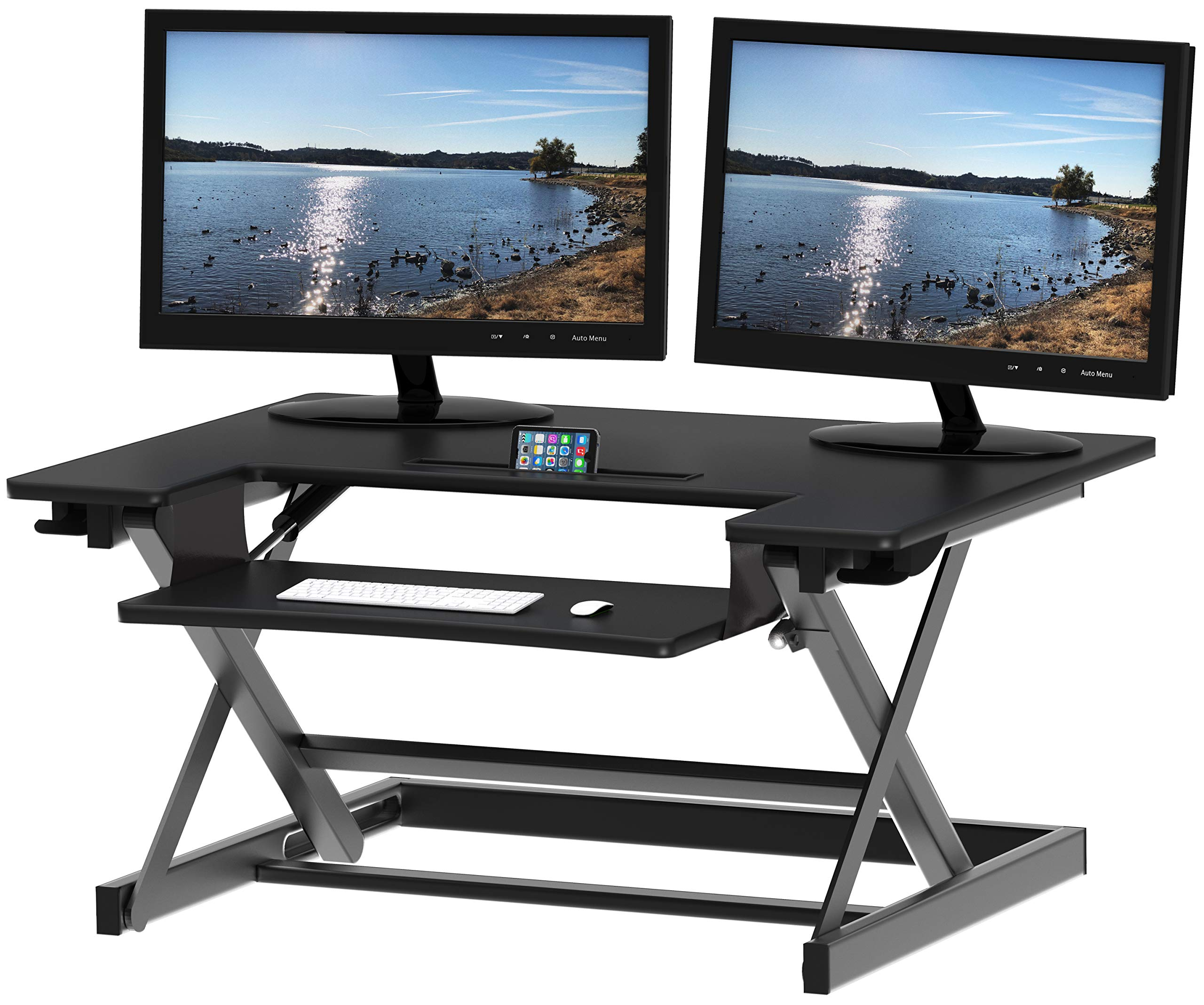SHW Height Adjustable Sit to Stand Desk Riser Converter Workstation, Black by SHW