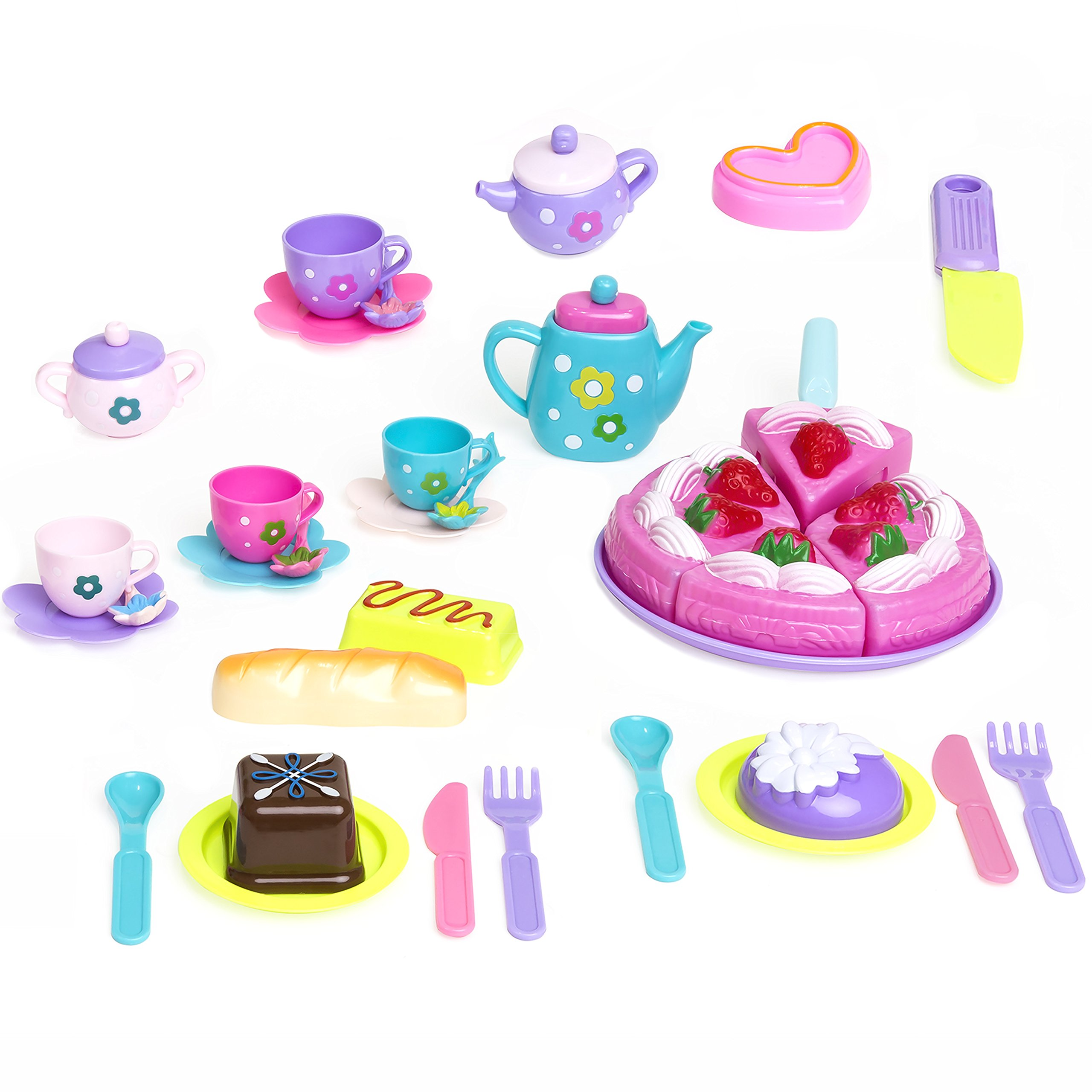 TOP QUALITY Tea Time 37pcs Pretend Kitchen Party Playset for Kids ...