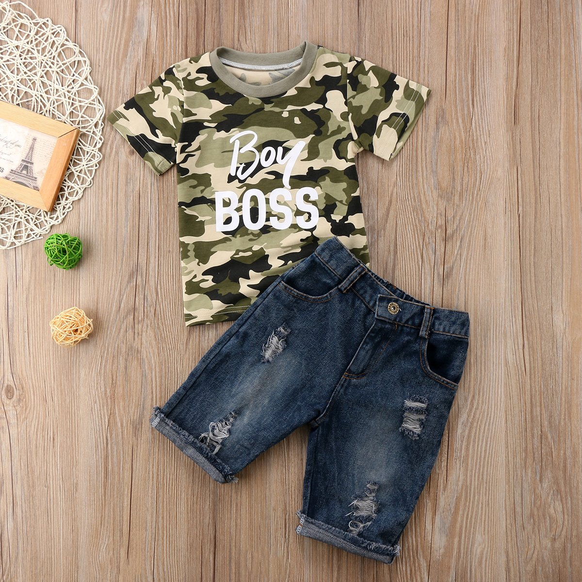 Toddler Baby Boy Clothes Short Sleeve Camo T-Shirt Denim Cropped Pants Shorts Outfits Set