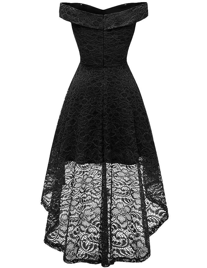 Amazon.com: Homrain Vestido de encaje floral con hombros ...
