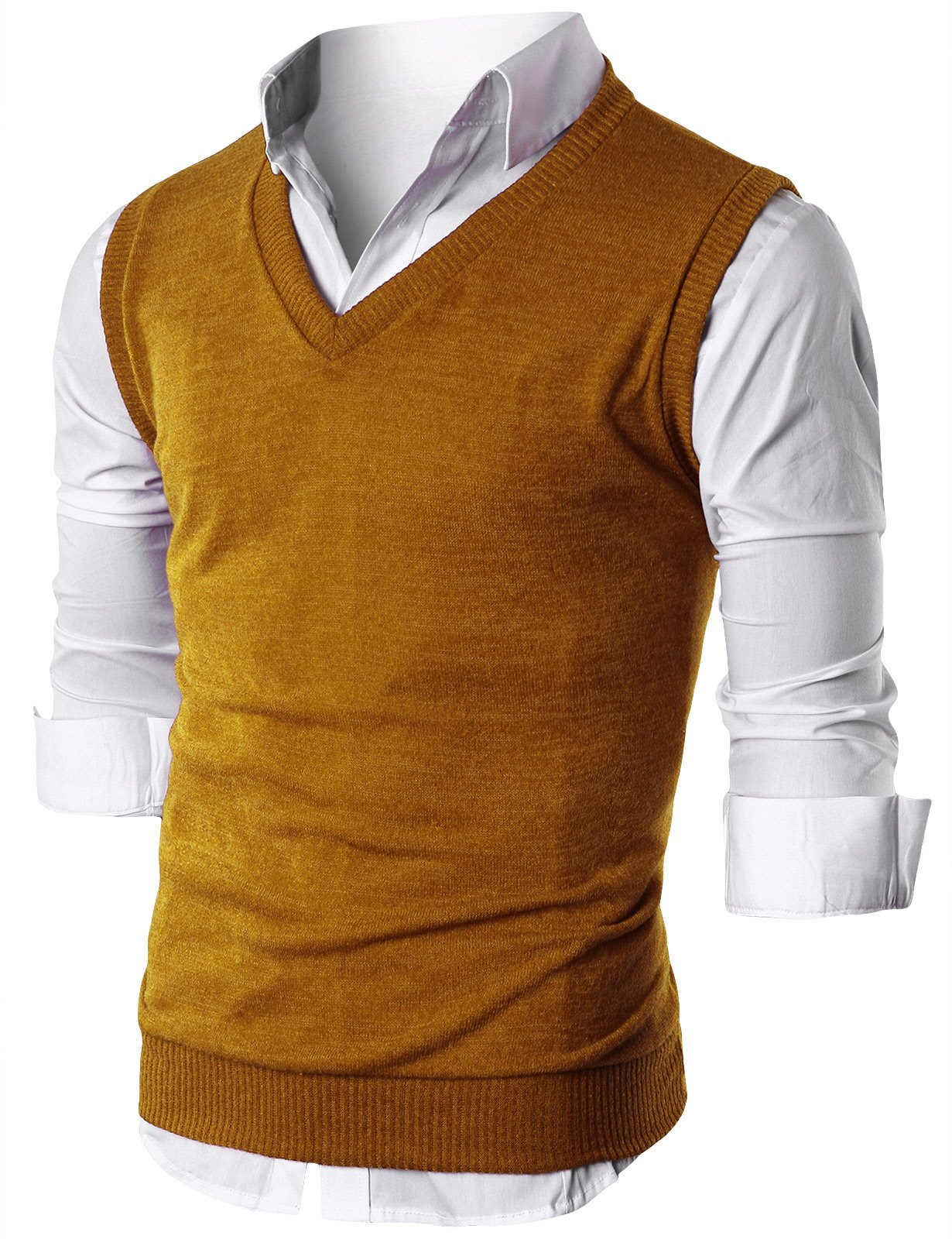 Ohoo Mens Slim Fit Casual V-Neck Knit Vest/DCV010-MUSTARD-2XL