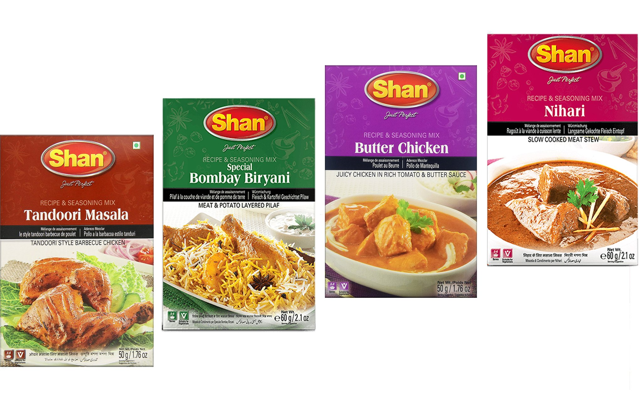 Shan Spices - Variety Pack of 4 (Tandoori, Butter Chicken, Bombay Biryani,