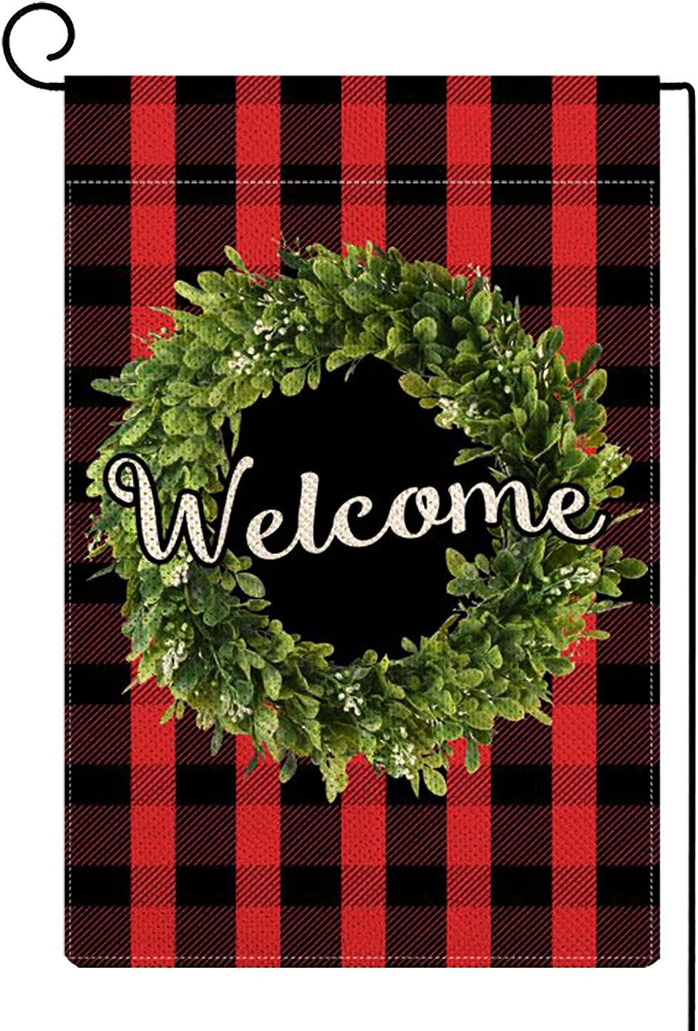 ORTIGIA Small Welcome Christmas Boxwood Wreath Garden Flag Vertical Double Sided,Fall Red Buffalo Check Plaid Rustic Farmhouse Burlap Flag Yard Outdoor Decoration,Seasonal Outdoor Flag 12.5 x 18inch