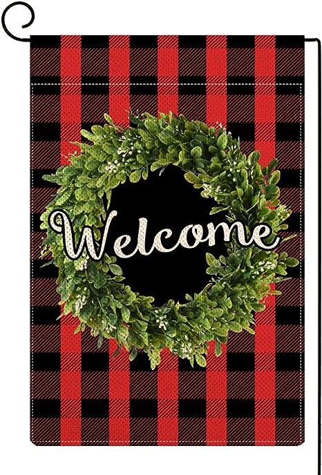 Christmas Garden Flag Buffalo Plaid Wreath Garden Flag Double Sided 12.5x18 In