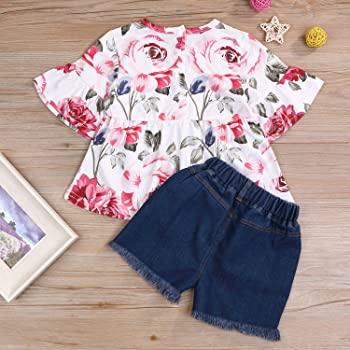 Little Girls Shorts Set Summer Flower Printing Vest 4-5 Years Jeans Pants Clothes Outfits