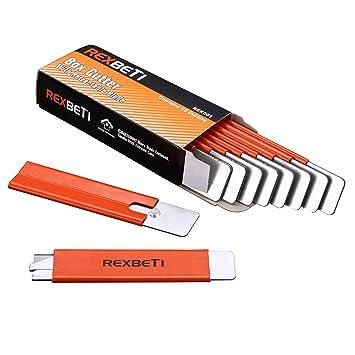 REXBETI - Cortador de cajas, retráctil, práctico abrelatas para paquetes de papeles y cajas, 10 por caja, color naranja: Amazon.es: Oficina y papelería